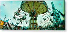 Tourists Riding On An Amusement Park Acrylic Print by Panoramic Images