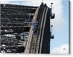 Tourists Strapped Together For Climb Acrylic Print