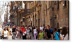 Tourists Walking In A Street, Calle Acrylic Print by Panoramic Images