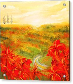 Towards The Brightness - Fields Of Poppies Painting Acrylic Print