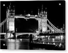 Acrylic Print featuring the photograph Tower Bridge At Night by Maj Seda