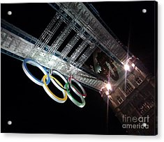 Tower Bridge London Olympics Night Acrylic Print by Ted Williams