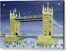 Tower Bridge Skating On Thin Ice Acrylic Print by Judy Joel