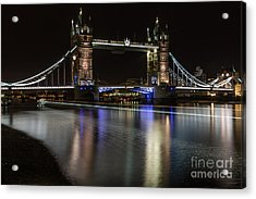 Tower Bridge With Boat Trails Acrylic Print