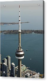 Tower Close Up With Lake Ontario In Acrylic Print by Bernard Dupuis