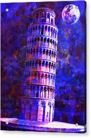 Tower Of Pisa By Moonlight Acrylic Print by Jack Zulli