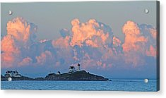 Towering Clouds Over Nubble Lighthouse York Maine Acrylic Print