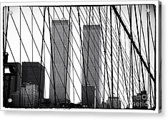 Towers From The Brooklyn Bridge 1990s Acrylic Print by John Rizzuto