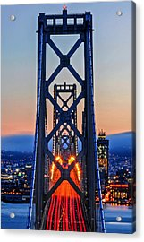 Towers Of The Bay Bridge Perfectly Aligned Acrylic Print