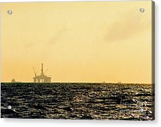 Towing A Platform In The Gulf Of Mexico Off The Coast Of Louisiana Acrylic Print by Michael Hoard