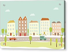 Town Houses Acrylic Print by Amathers