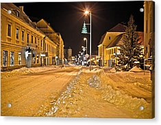 Town In Deep Snow On Christmas  Acrylic Print by Brch Photography