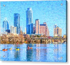 Town Lake Boaters Acrylic Print