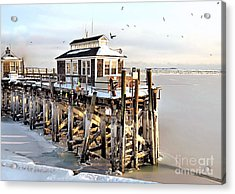 Town Pier Frozen Acrylic Print