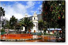 Town Square In Penipe Ecudor Acrylic Print by Al Bourassa
