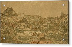 Town With Four Towers Acrylic Print by Hercules Segers
