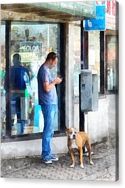 Towns - Pay Phone Acrylic Print by Susan Savad