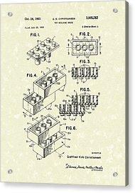 Toy Building Brick 1961 Patent Art Acrylic Print by Prior Art Design