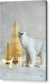 Acrylic Print featuring the photograph Toy Polar Bear With Little Gold Trees And Lights by Sandra Cunningham
