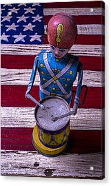 Toy Tin Drummer Acrylic Print by Garry Gay
