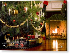 Toy Train Under The Christmas Tree Acrylic Print