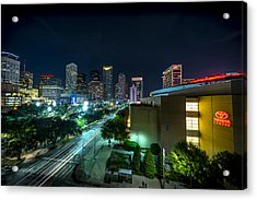Toyota Center And Downtown Houston Acrylic Print