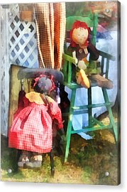 Toys - Two Rag Dolls At Flea Market Acrylic Print by Susan Savad