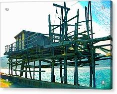 Trabocco 3 - Fishermen Stuff Acrylic Print by Marcello Cicchini