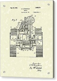 Tractor 1928 Patent Art Acrylic Print by Prior Art Design