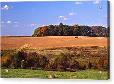 Tractor After The Harvest Acrylic Print by Jerry Tompkins