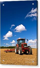 Tractor In Plowed Field Acrylic Print by Elena Elisseeva
