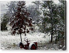 Tractor In The Snow Acrylic Print by Dennis Buckman