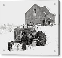 Acrylic Print featuring the photograph Tractor In Winter by Jim Vance