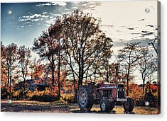 Tractor Out Of The Barn Acrylic Print by Kelly Reber