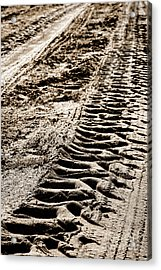 Tractor Tracks In Dry Mud Acrylic Print by Olivier Le Queinec