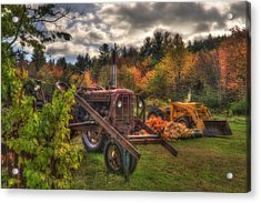 Tractors And Pumpkins Acrylic Print by Joann Vitali