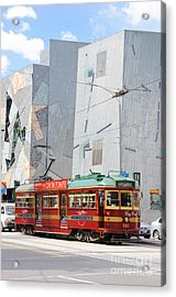 Traditional And Modern Symbols Of Melbourne - Tram And Architecture Acrylic Print