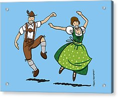 Traditional Bavarian Couple Dancing Acrylic Print by Frank Ramspott