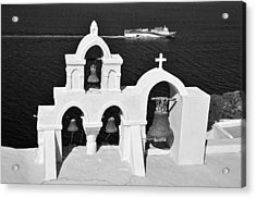 Traditional Belfry In Oia Acrylic Print