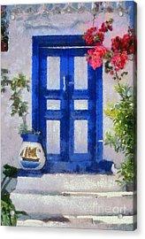 Traditional Door In Hydra Island Acrylic Print by George Atsametakis