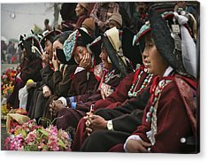 Traditional Dresses At Diskyid Festival Acrylic Print by Timothy Allen