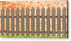 Traditional Fence With Grass And Brick Wall Acrylic Print by Pakorn Kitpaiboolwat