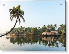 Traditional Houseboat, Kerala Acrylic Print by Peter Adams