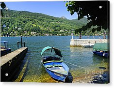 Traditional Lucia Fishing Boat On Lake Maggiore Acrylic Print by Brenda Kean