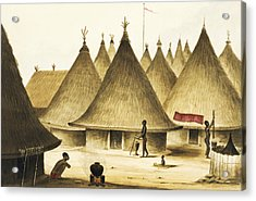 Traditional Native Village Circa 1840 Acrylic Print by Aged Pixel