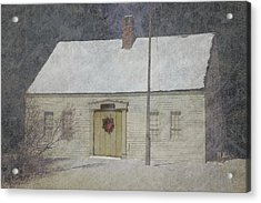 Traditional Snow Colonial Salt Box Home Christmas Card Acrylic Print by Suzanne Powers