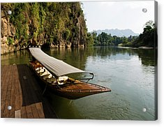 Traditional Thai Long Boat Docked Acrylic Print