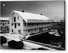 traditional wooden warehouse in Honningsvag harbour finnmark norway europe Acrylic Print by Joe Fox
