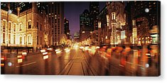 Traffic On The Road At Dusk, Michigan Acrylic Print