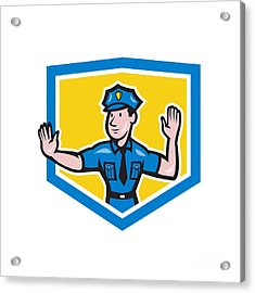 Traffic Policeman Stop Hand Signal Shield Cartoon Acrylic Print by Aloysius Patrimonio